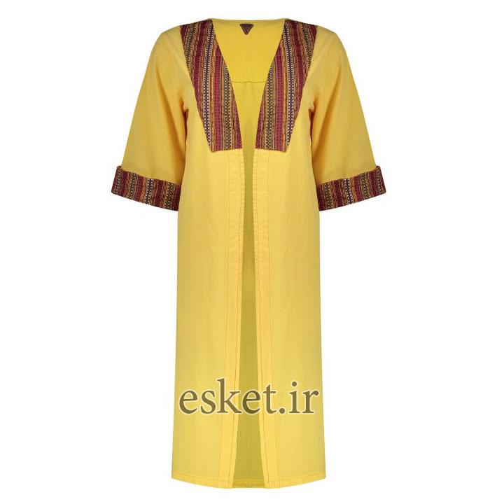مانتو سنتی دخترانه شیک رنگ زرد