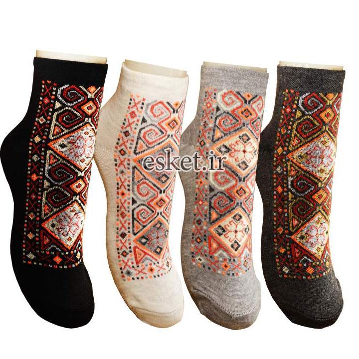 جوراب نخی زنانه طرح سنتی کد 05 بسته 4 عددی