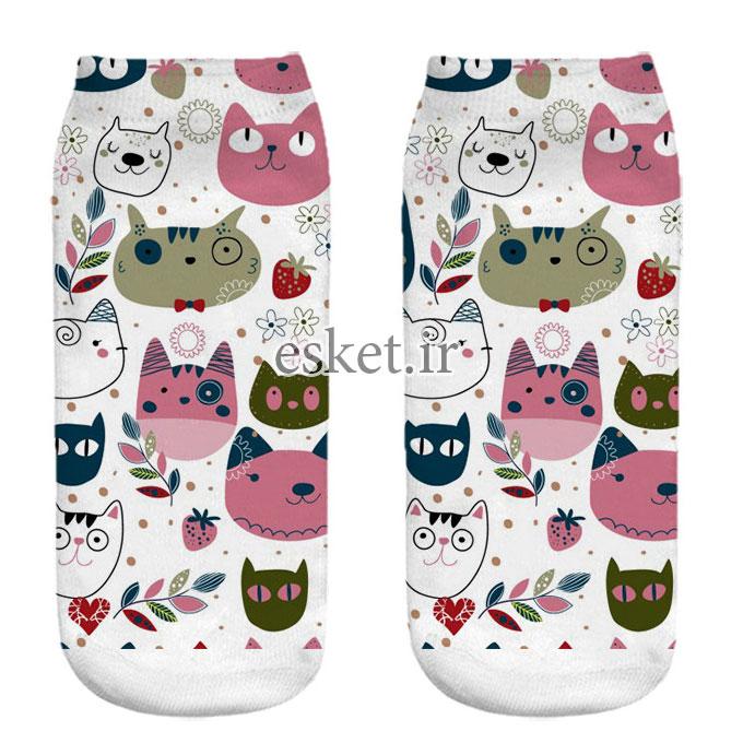 جوراب نخی زنانه طرح گربه کد CH1065