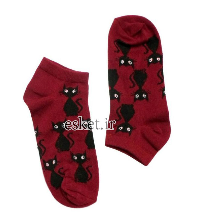 جوراب نخی زنانه طرح گربه کد 2