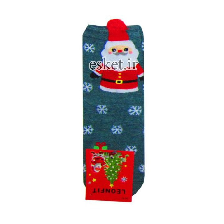 جوراب نخی زنانه طرح دار طرح کریسمس کد JBF1