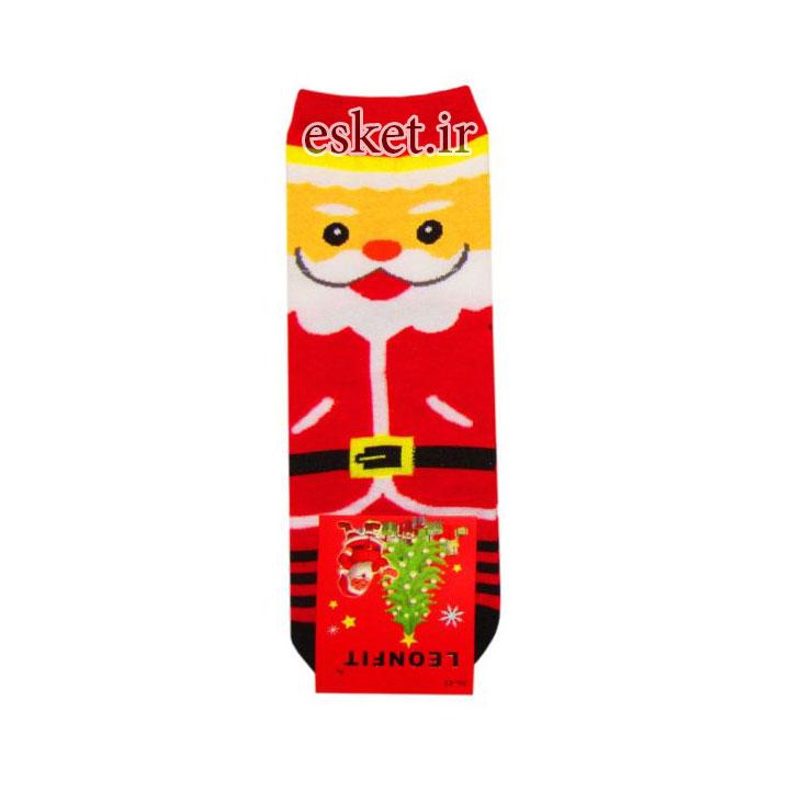 جوراب نخی زنانه طرح دار طرح کریسمس کد JBN2