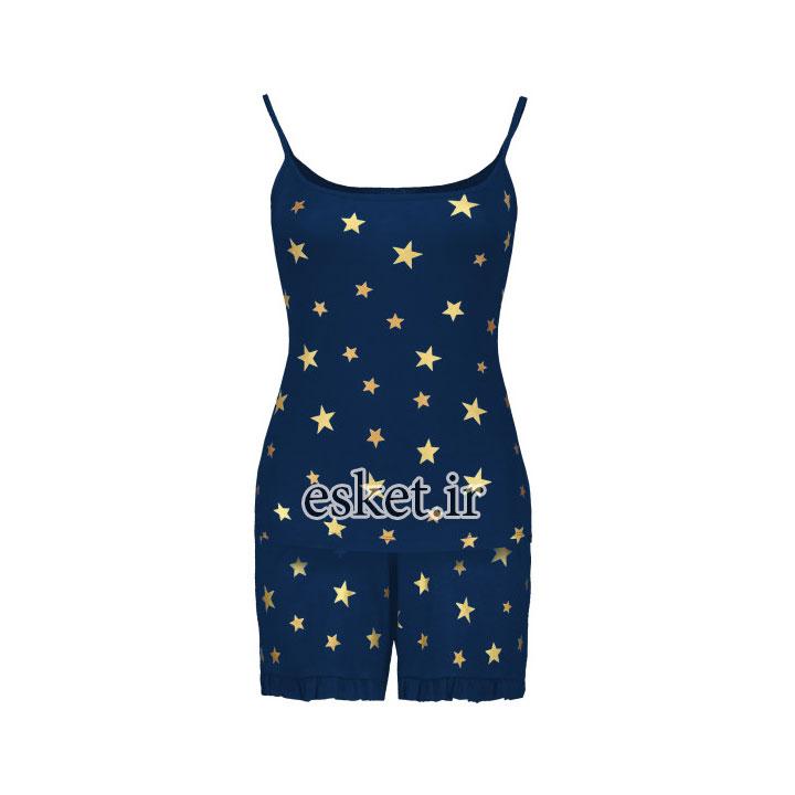 ست تاپ و شلوارک دخترانه شیک طرح ستاره کد 6531 رنگ سرمه ای