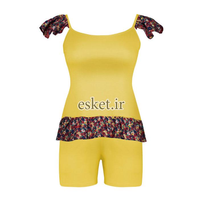 ست تاپ و شلوارک دخترانه شیک افراتین طرح گلدار کد 6538 رنگ لیمویی