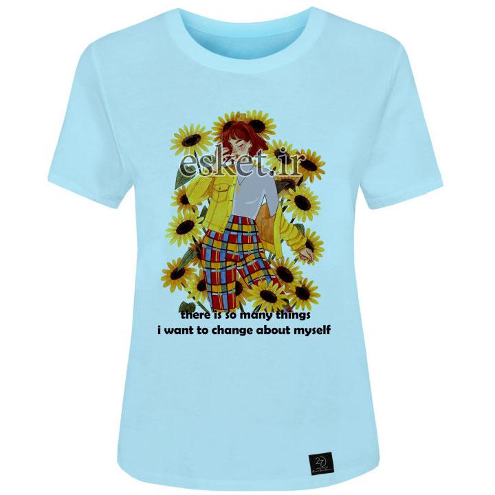 تیشرت دخترانه اسپرت شیک 27 مدل دختر و گل کد H15 رنگ آبی