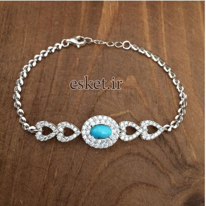 دستبند نقره زنانه زیبا کد 3060