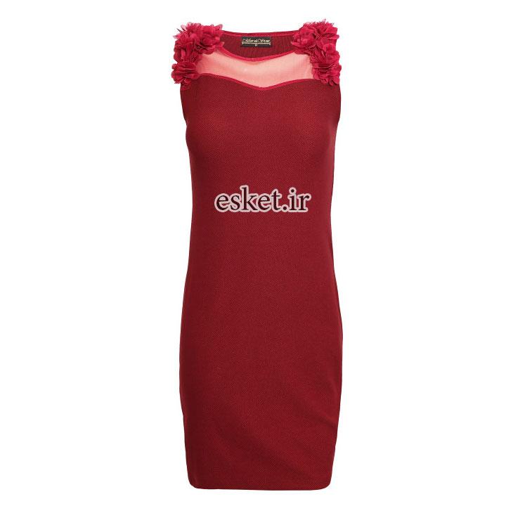 پیراهن مجلسی زنانه ارزان کد 023 رنگ زرشکی