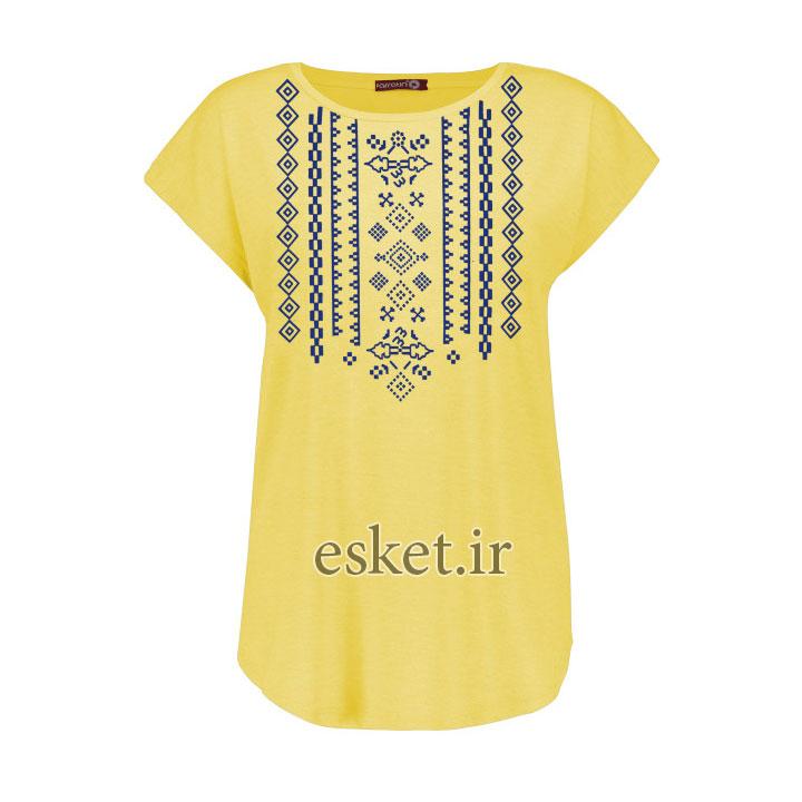 تیشرت زنانه شیک و ارزان افراتین کد 2551 رنگ زرد