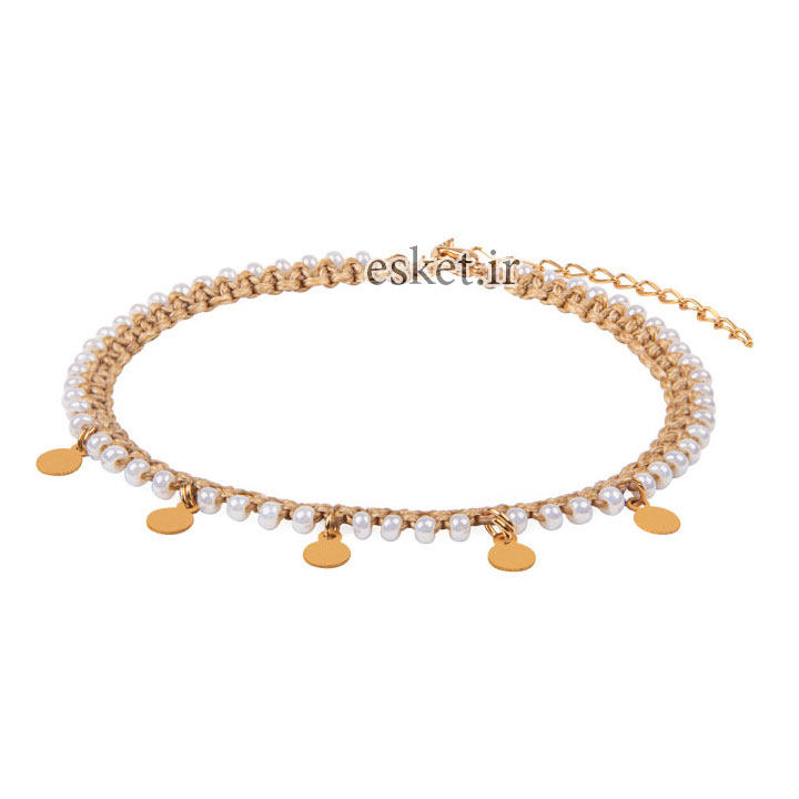 پابند طلا زنانه شیک 18 عیار زنانه ریسه گالری مدل K2041