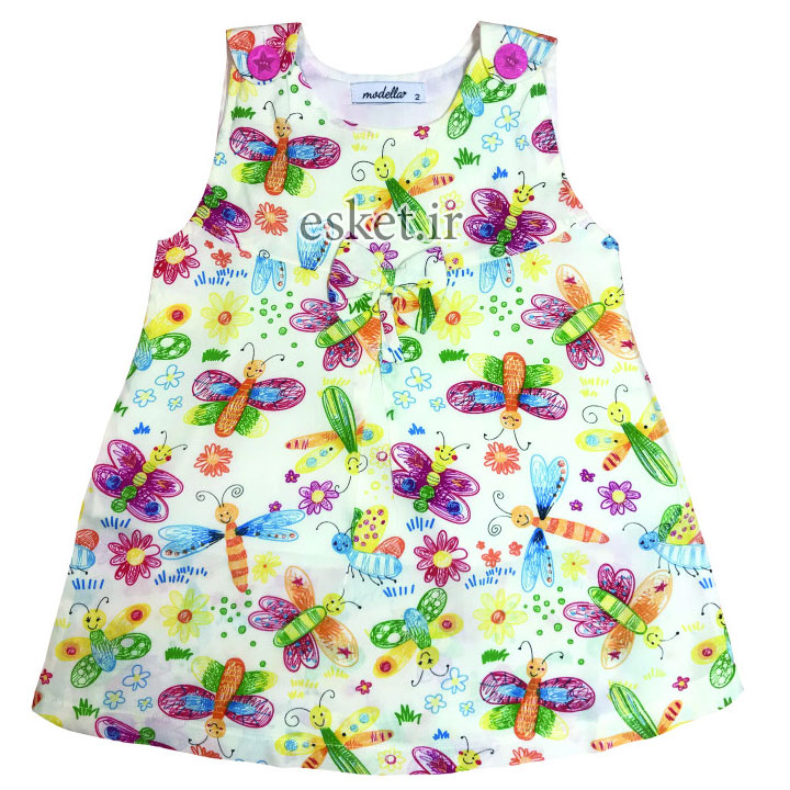 پیراهن دخترانه زیبا و شیک مدلا طرح پروانه کد D1984