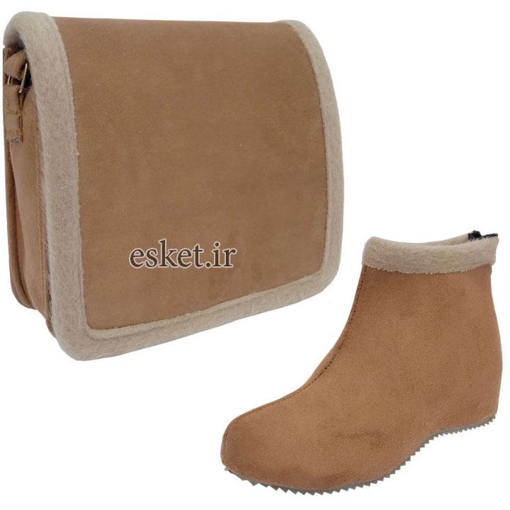ست کیف و نیم بوت زنانه کد SG 2813 - ست کیف و کفش زنانه زیبا