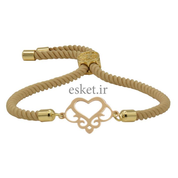 دستبند طلا 18 عیار زنانه آمانژ طرح قلب کد 935D8894 - دستبند طلا زنانه زیبا