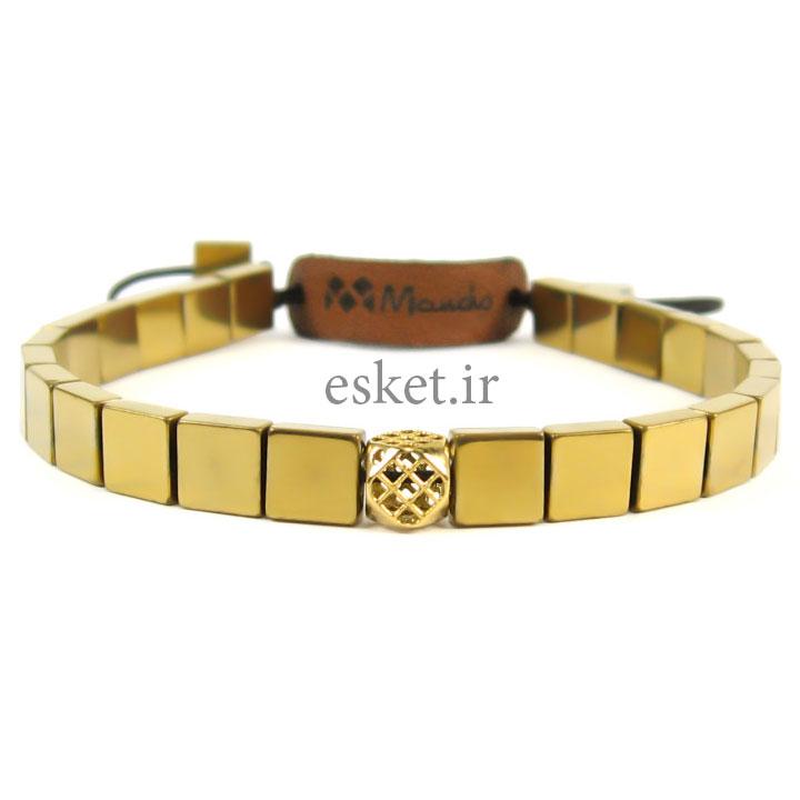 دستبند حدید و طلا 18عیار مانچو مدل bfg044 - دستبند طلا زنانه زیبا