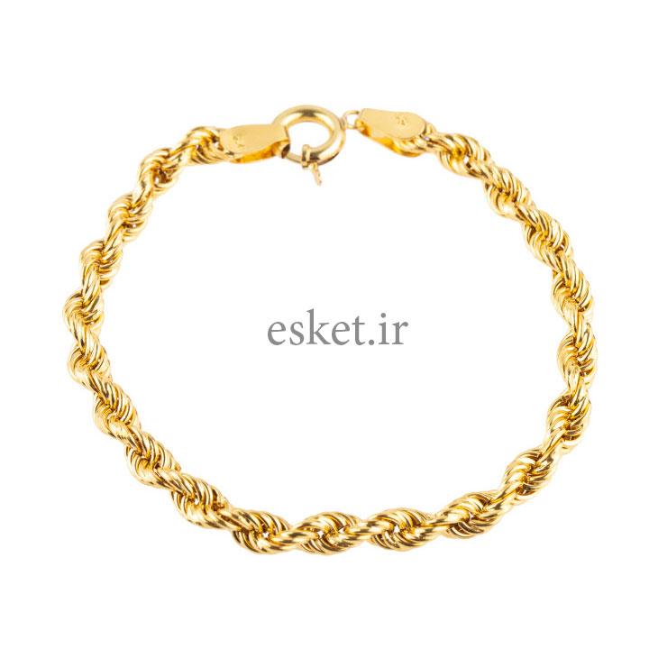 دستبند طلا 18 عیار کد B103 طنابی - دستبند طلا زنانه زیبا
