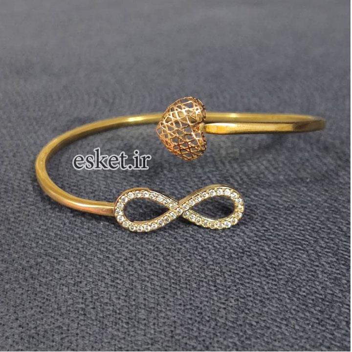 دستبند طلا زنانه زیبا 18عیار قیراط طرح بی نهایت کد GH90