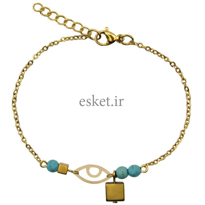 دستبند طلا زنانه زیبا 18 عیار مانچو کد bfg167