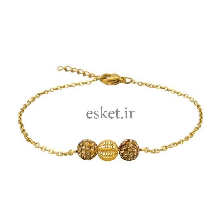 دستبند طلا زنانه زیبا 18 عیار مانچو کد bfg206