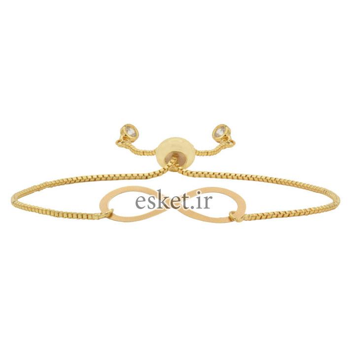 دستبند طلا زنانه زیبا 18 عیار آمانژ طرح بینهایت کد 968D3360