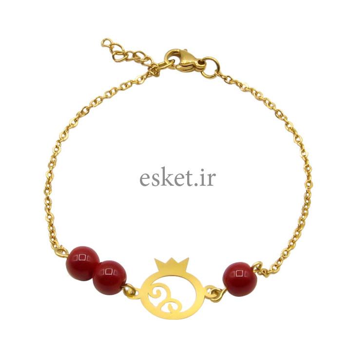 دستبند طلا 18 عیار زنانه مانچو طرح انار یلدا کد bfg178 - دستبند طلا زنانه زیبا