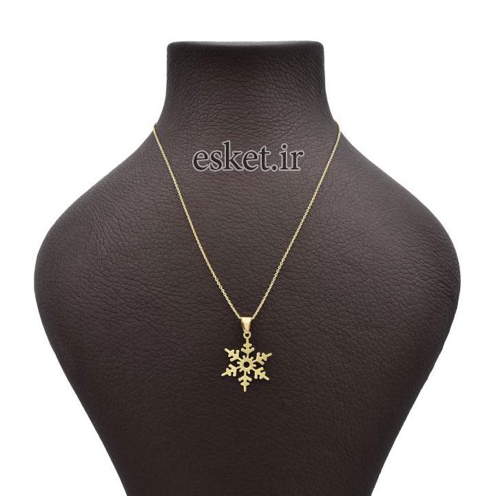 گردنبند طلا زنانه زیبا آمانژ طرح برف کد 619D3069