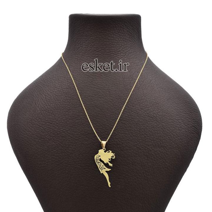 گردنبند طلا 18 عیار زنانه آمانژ طرح دختر کد 625D3081 - گردنبند طلا زنانه زیبا