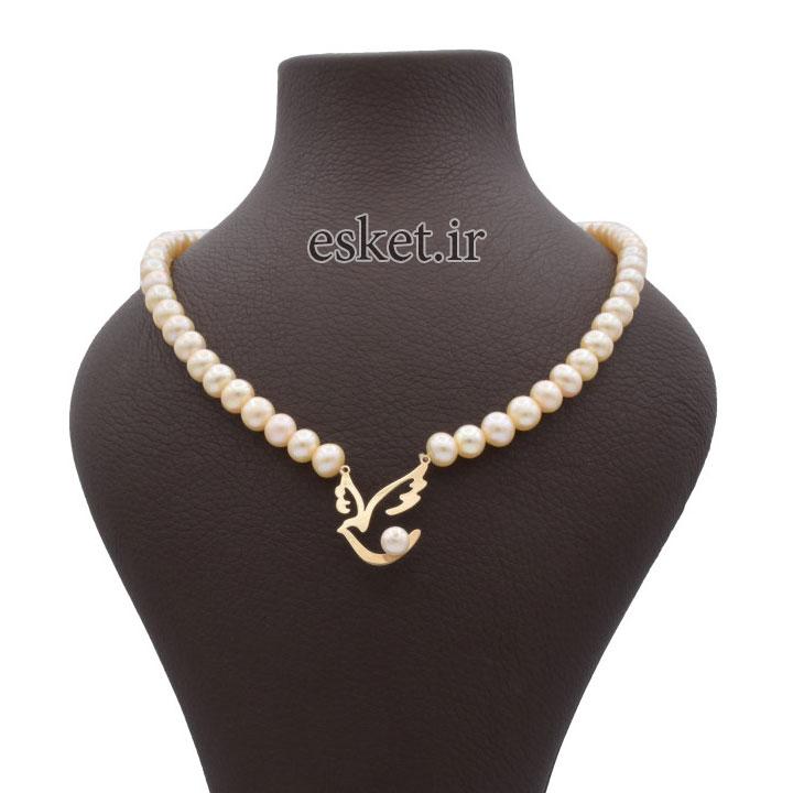 گردنبند طلا زنانه زیبا آمانژ طرح پرستو کد 896D3386