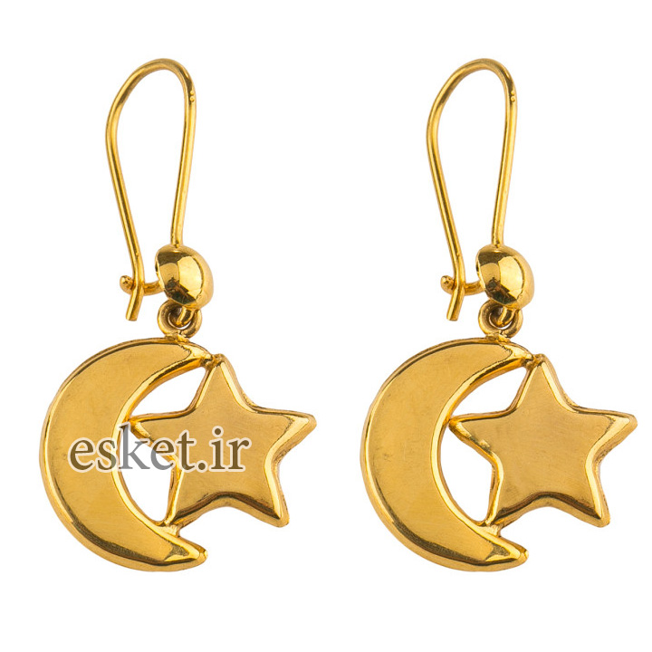 گوشواره طلا 18عیار گالری طلاچی مدل آویز ماه و ستاره - گوشواره طلا شیک و جذاب
