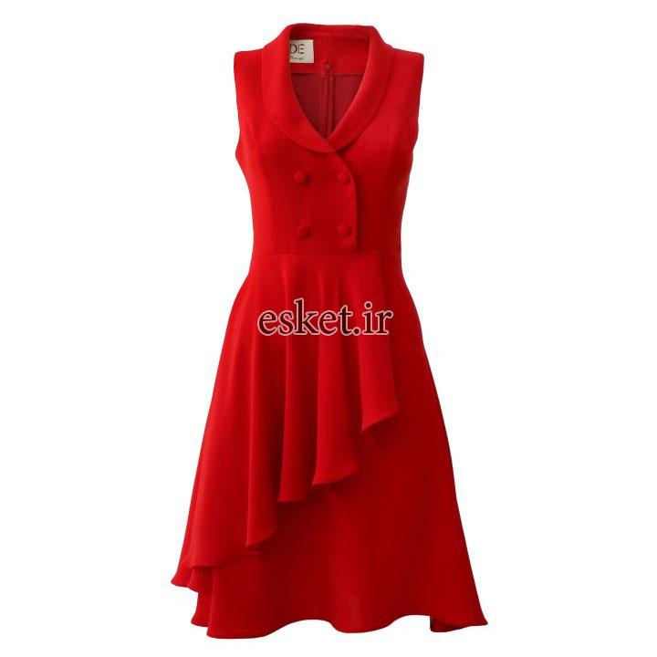 پیراهن مجلسی زنانه شیک جدید درس ایگو کد 1010018 رنگ قرمز