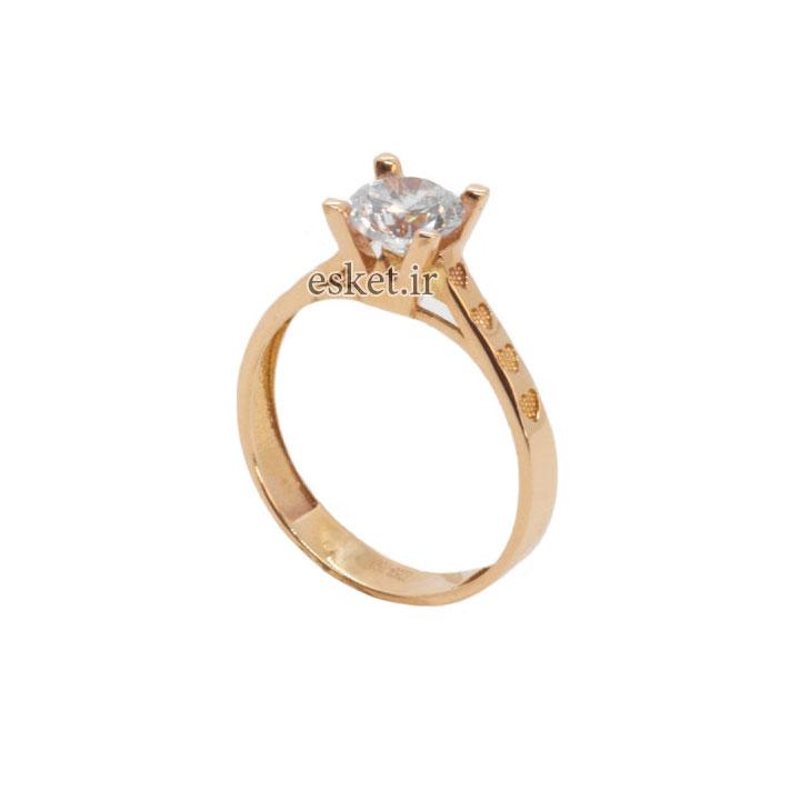 انگشتر طلا 18 عیار زنانه مدل B0012 - انگشتر طلا زنانه شیک و جدید