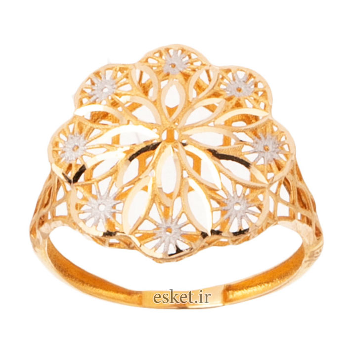 انگشتر طلا زنانه شیک و جدید 18 عیار زنانه گالری یارطلا مدل فیوژن کد ANF15