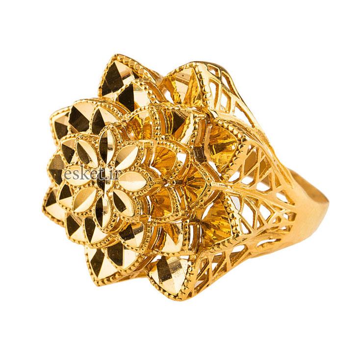 انگشتر طلا زنانه شیک و جدید 18 عیار گالری طلا باران چیچک