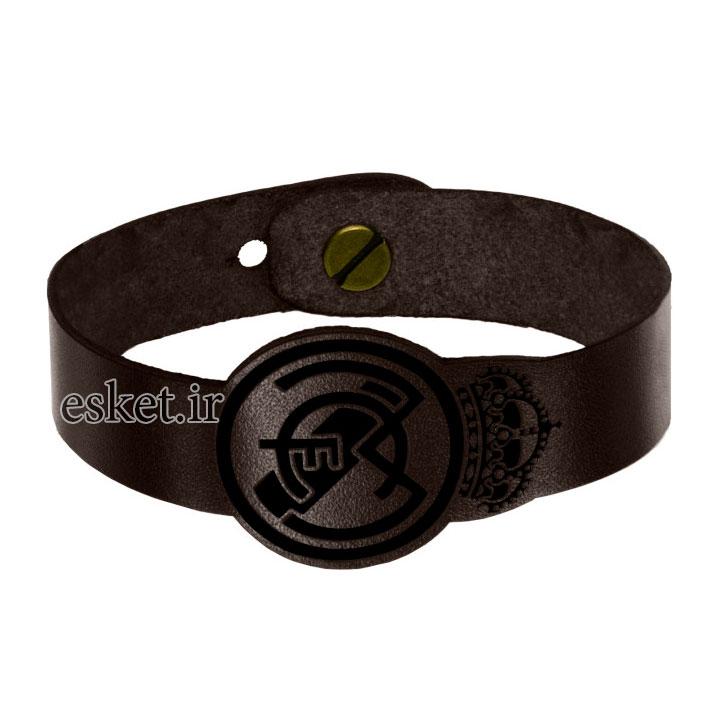 دستبند چرمی زنانه شیک چرمینه اسپرت مدل رئال مادرید کد 1018