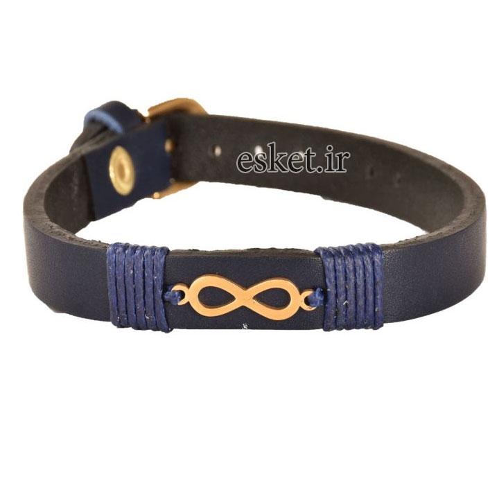 دستبند چرمی زنانه شیک کهن چرم طرح بی نهایت مدل BR21-11